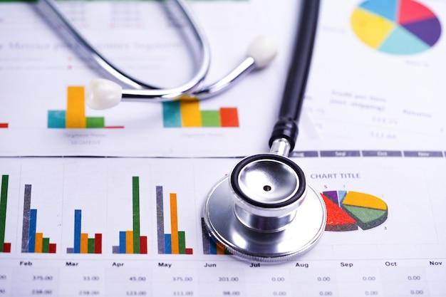 Arkusz kalkulacyjny stetoskop, wykresy i wykresy