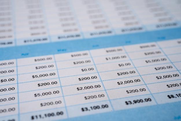 Arkusz kalkulacyjny tło papieru tabeli.