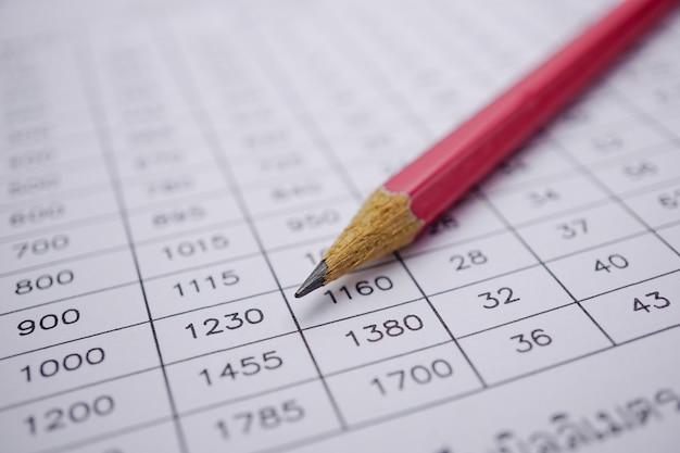 Arkusz kalkulacyjny z ołówkiem.