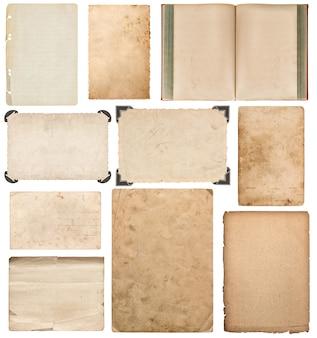 Arkusz papieru, książki, karton, ramka na zdjęcia z rogu na białym tle. zestaw elementów notatnika