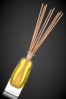 Aromaterapeutyczny odświeżacz powietrza na czarnym tle. renderowanie 3d