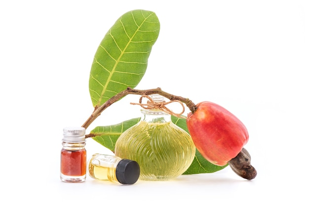 Aromaterapia o zapachu orzechów nerkowca i perfum na białym tle.
