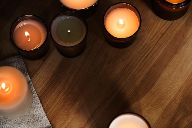 Aromatyczna świeca obramowania tła widok z lotu ptaka