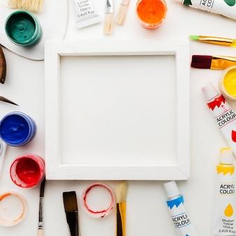 Art studio przedmioty i rama przestrzeni kopii