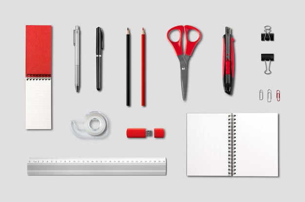 Artykuły papiernicze, szablon makieta materiały biurowe, szare tło