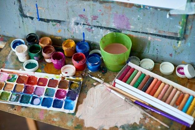 Artyści malarstwo dostawy z bliska