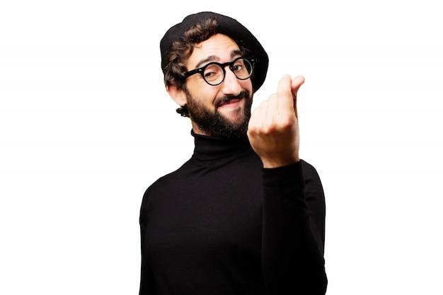 Artysta szalony człowiek szczęśliwy francuski