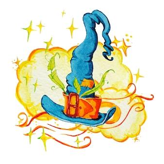 Artystyczna magiczna ilustracja z ręcznie rysowane elementy artystyczne na białym tle - magiczny kapelusz, gwiazdy, chmura.
