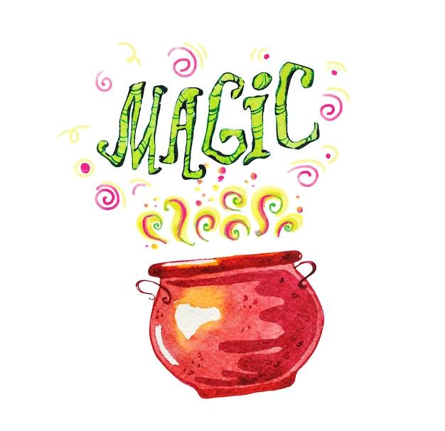 Artystyczna magiczna ilustracja z ręcznie rysowane elementy artystyczne na białym tle - magiczny napis, dym, garnek.