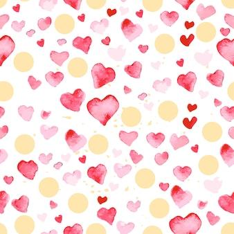 Artystyczny wzór z ręcznie rysowane akwarele serca na białym tle. maluj rysunek. dobry dla projektu karty walentynki, papier pakowy. miłość i romantyczny motyw.