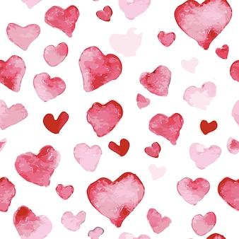 Artystyczny wzór z ręcznie rysowane akwarele serca na białym tle. maluj rysunek. miłość i romantyczny motyw.