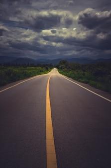 Asfaltowa droga asfaltowa droga w kraj stronie z obłocznym niebem w pada dniu.