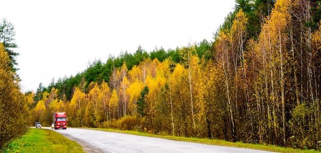 Asfaltowa droga przez jesienny las z czerwoną ciężarówką.