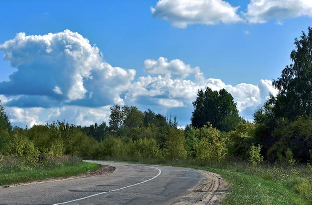 Asfaltowa droga w lesie i błękitne niebo