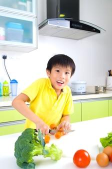 Asian boy cooking