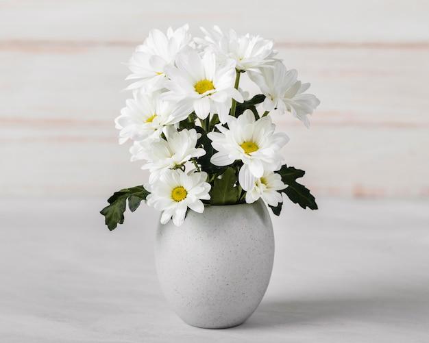Asortyment białych kwiatów w białym wazonie