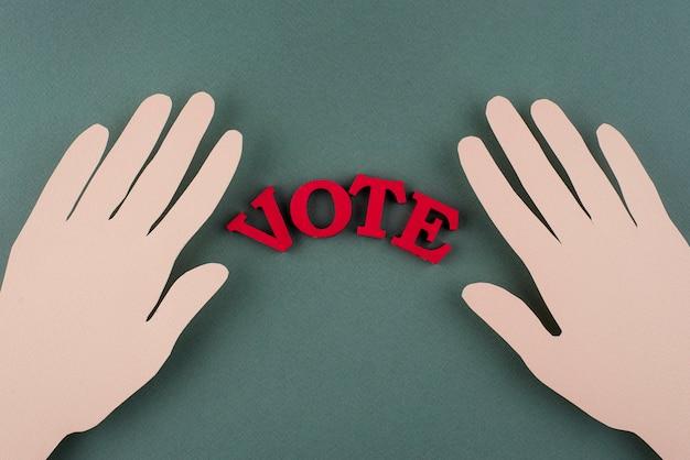 Asortyment do głosowania w stylu papierowym z widokiem z góry