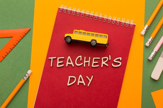 Asortyment elementów na dzień nauczyciela