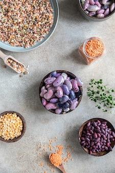 Asortyment fasoli i soczewicy pojęcie zdrowej i pożywnej żywności