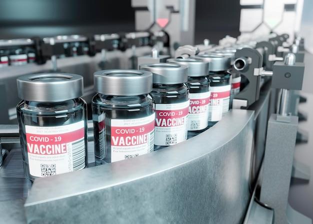 Asortyment fiolek ze szczepionką przeciwko koronawirusowi 3d