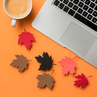 Asortyment jesiennych liści leżał płasko