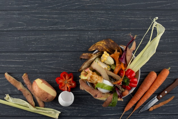 Asortyment kompostu ze zgniłego jedzenia z miejscem na kopię