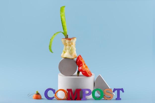 Asortyment kompostu ze zgniłego jedzenia
