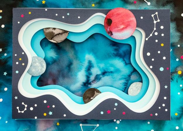 Asortyment kreatywnych planet papierowych z widokiem z góry