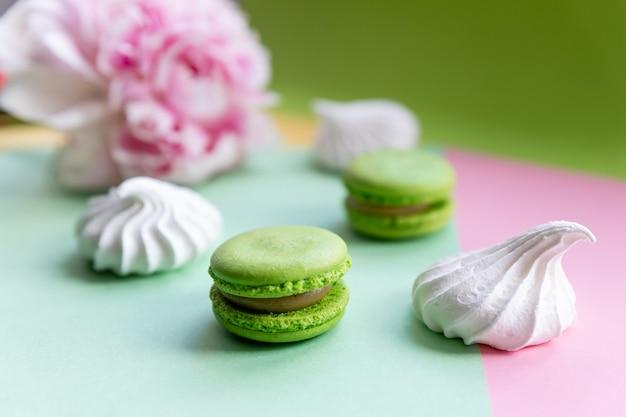 Asortyment makaroników w pastelowych kolorach. przekąska deserowa, słodycze