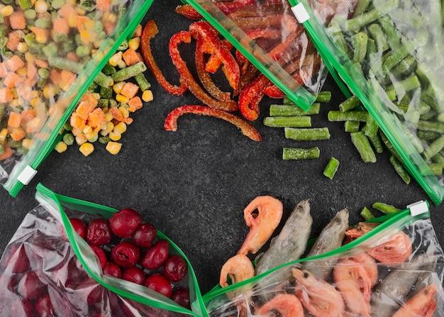 Asortyment mrożonej zdrowej żywności
