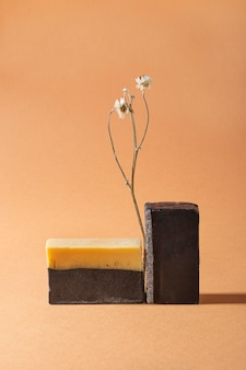 Asortyment naturalnych produktów do samoopieki, widok z przodu