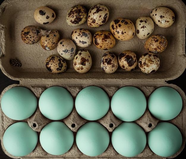 Asortyment niebieskich kurczaków i jajek zwykłych jakości w pudełku kartonowym, widok z góry