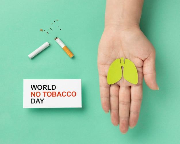 Asortyment płaskich elementów bez tytoniu