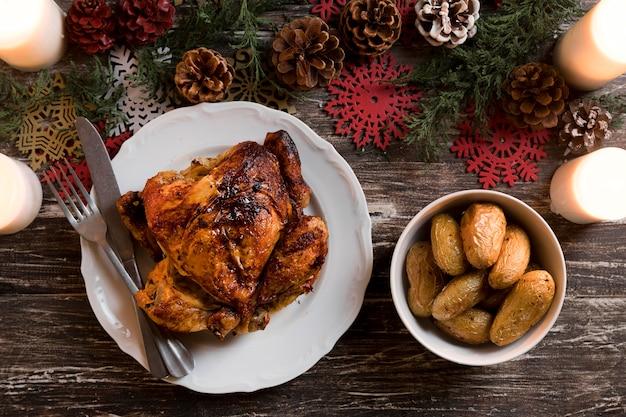 Asortyment płaskich posiłków świątecznych