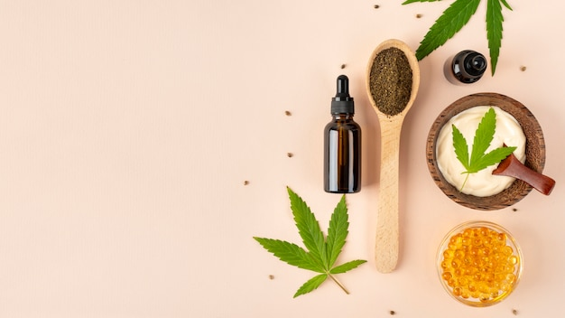Asortyment produktów z konopi organicznych