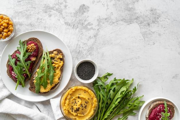 Asortyment pysznych potraw i składników