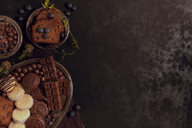Asortyment pysznych rodzajów czekolady
