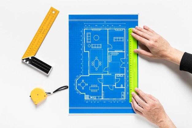 Asortyment różnych elementów projektu architektonicznego