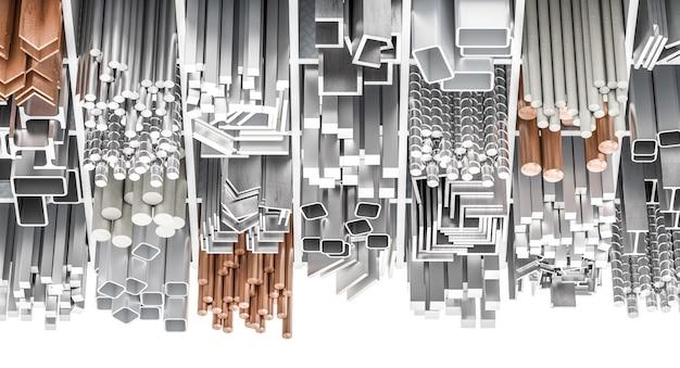 Asortyment różnych profili metalowych