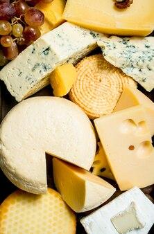 Asortyment różnych rodzajów sera na tacy na drewnianym stole.