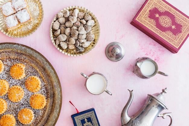 Asortyment słodyczy i koranu