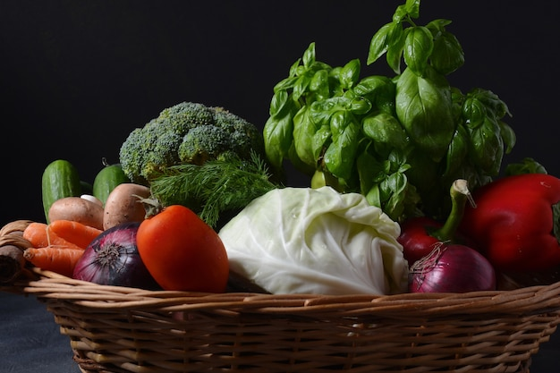 Asortyment świeżych warzyw tło zdrowej żywności