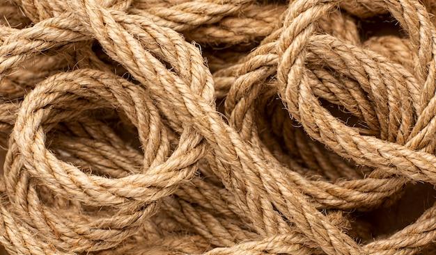 Asortyment tekstur liny z widokiem z góry