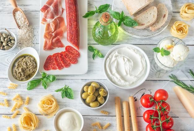 Asortyment włoskiej żywności