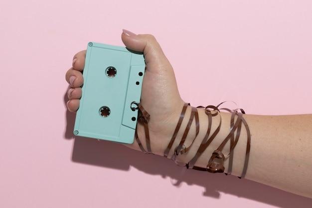 Asortyment z kasetą w stylu vintage