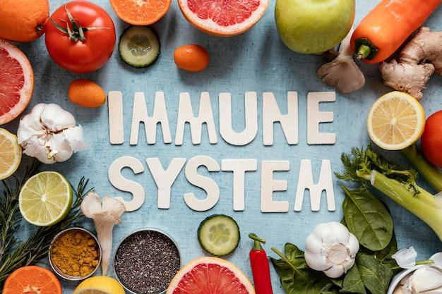 Asortyment zdrowej żywności wzmacniającej odporność