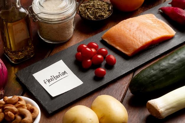 Asortyment żywności na diecie flexitarian wysokiego kąta