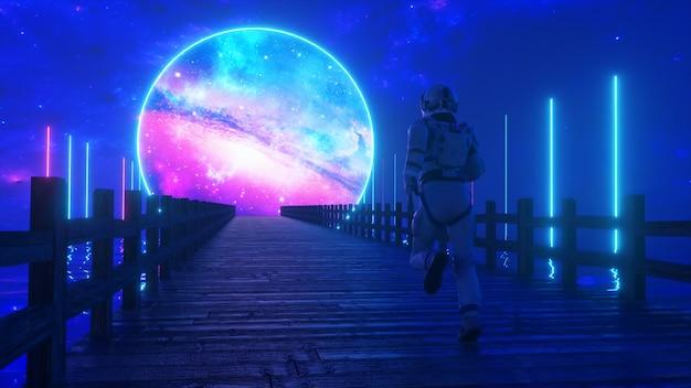 Astranaut biegnie wzdłuż niekończącego się drewnianego mostu