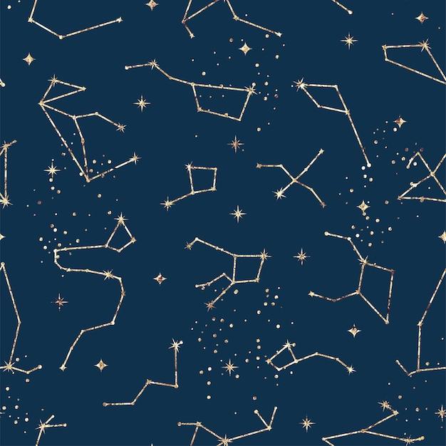 Astrologiczny wzór z gwiazdami i konstelacjami. tekstura złotej folii
