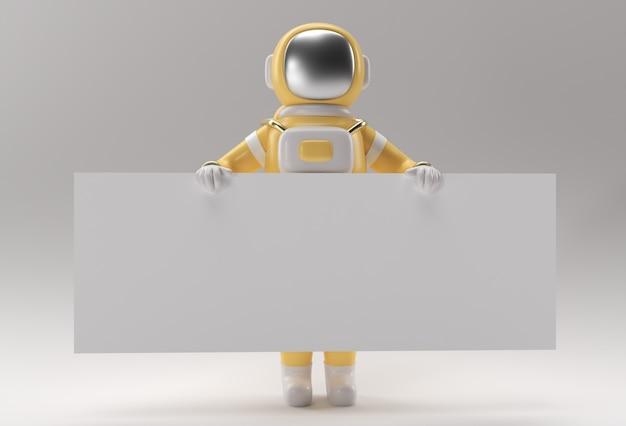 Astronauta 3d render trzyma bia?y baner na bia?ym tle.